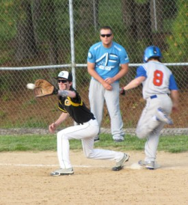 Vienna's Austin Krelo beats the throw to first during the baseball Eagles' win over Goreville last Thursday at Vienna.
