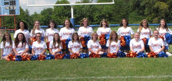 Cheerleaders pictured from left to right, front row: Mariah Nesler, Emily Pope, Morgan Pope, Katie White, Shea Browder, Mickey Cuasey, Casey Rehberg, Alyssa Brumley and Marissa Oliver. Back row: Taylor Dibble, Roxanne Thompson, Racheal Ren, Chelsea Mook, Lexi Pritchett, Kayler Hunt, Bereah Hill and Lakin Reed.
