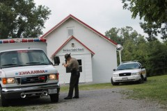 Oak Grove Church served as a staging area for police relief and emergency vehicles Saturday afternoon.