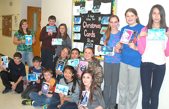 The Vienna Grade School gifted art students display their handmade Christmas cards. Front row from left are Sam Hirsch, Ben Fisher, Asa Sparks, Isabella Brookshier and Livia Tite. In the back row are Octavia Skamser, Jered Huckleberry, Taylor Nolen, Shanena Vinson, Valeria Botello, Sadie Johnson, Jaiden Sanders, Katelyn Wiggs and Makayla Lynch. Trenton Hyde and Joseph Kossack were not available for the picture.