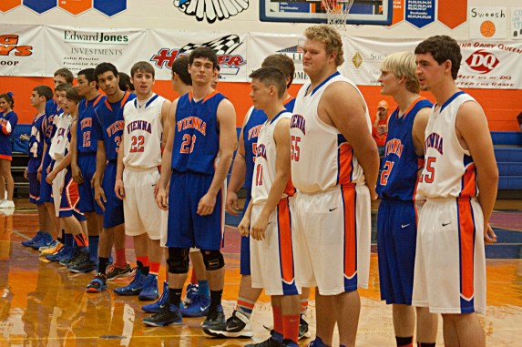 The Varsity Boy's Team prepares to square off in a two quarter scrimmage.