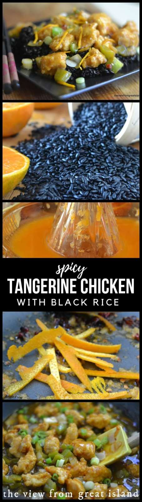 Spicy Tangerine Chicken with Black Rice is an authentic Asian recipe with fabulous flavor, and the black rice makes it extra special! #chicken #Asian #chinese #takeout #blackrice #stirfry #healthy #tangerine #dinner #easy #recipe #authentic