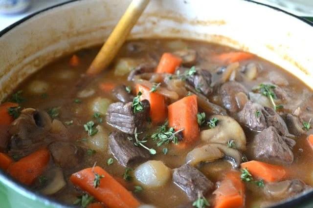 A pot of Ina Garten's Beef Bourguignon