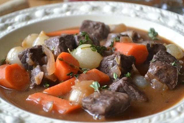 A bowl of Ina Garten's Beef Bourguignon