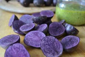 Purple potatoes for Roasted Purple Potatoes with pesto