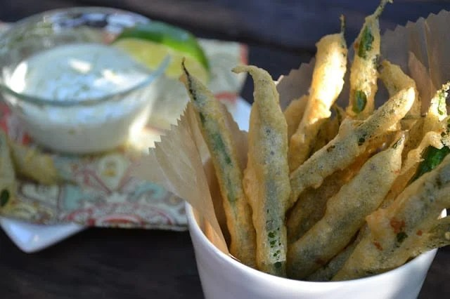Fried Green Beans with Lime Aioli Dipping Sauce, an easy appetizer.