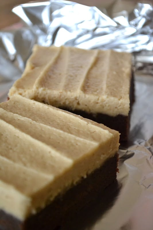 Peanut Butter Brownie Cake cut in squares