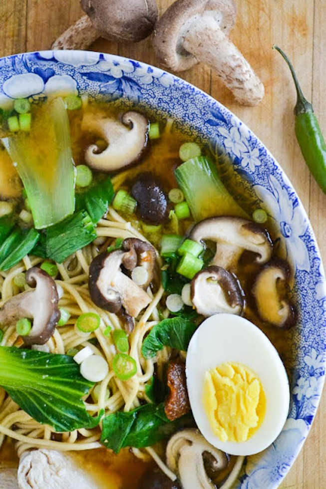 miso ramen with shitake and chicken soup is healthy, low calorie, and comforting