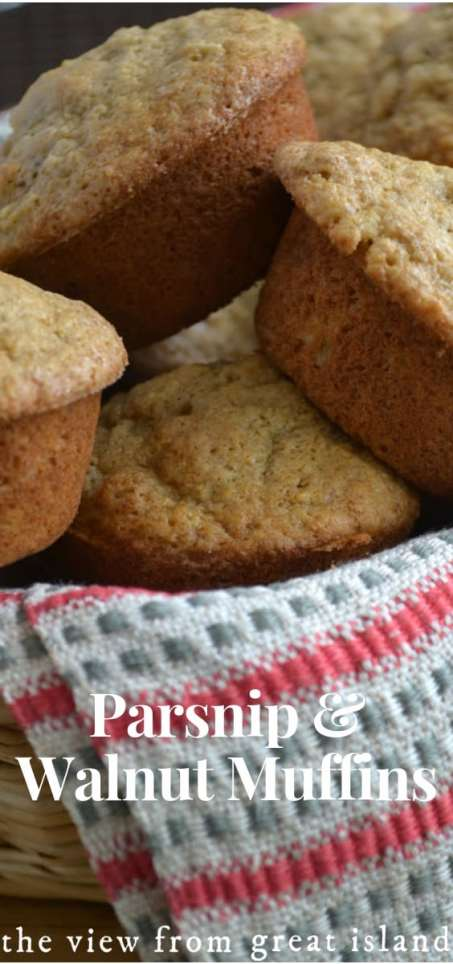 Parsnip Walnut Muffins ~  parsnips are paler, sweeter cousins of the carrot, and these easy muffins are perfect for a fall breakfast or brunch. #muffins #breakfast #recipe #healthy #easy #fall #parsnips #rootvegetable #brunch