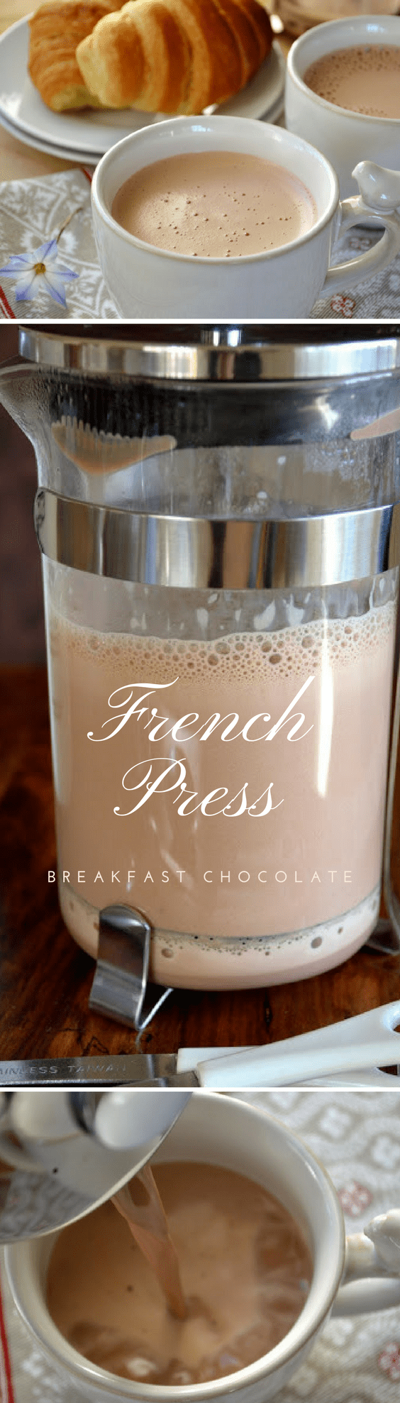French Press Breakfast Chocolate ~ this easy method makes a thick, rich, frothed hot chocolate just like the Europeans enjoy! #hotcocoa #hotchocolate #chocolate #drinkingchocolate #breakfastchocolate #Frenchpress #breakfast #beverage #fallbeverage #winterbeverage