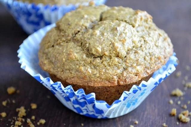 A healthy multi grain raisin walnut bran muffin