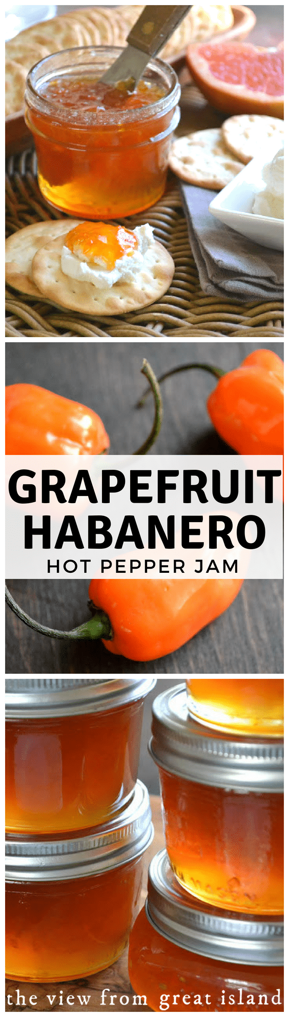 Pink Grapefruit Habanero jam is a unique hot pepper jam with an irresistible sweet hot flavor...pair it with some cream cheese and crackers for the best appetizer ever.  #appetizer #jam #recipe #easy #grapefruit #habanero #smallbatch #refrigerator #freezer #citrus #jelly