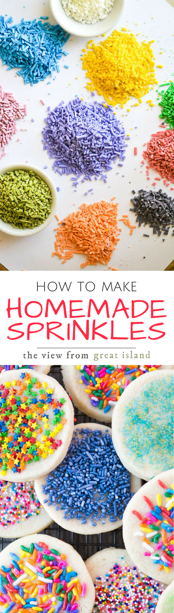 How to Make Homemade Sprinkles ~ an easy recipe for making your own customized sprinkles ~ make them any color you like! #diy #dessert #icecream #funfetti #homemadesprinkles #sprinklesrecipe #easyhomemadesprinkles #candy #royalicing #sugarcraft #confectionary #kidsdessert