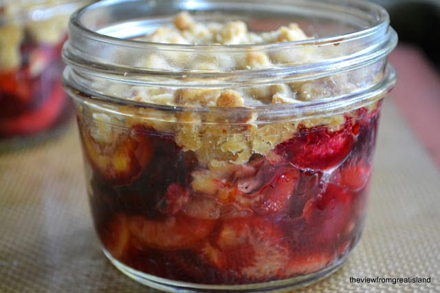 Mason Jar Cherry Crumble, a delicious individual dessert baked right in a Mason jar!