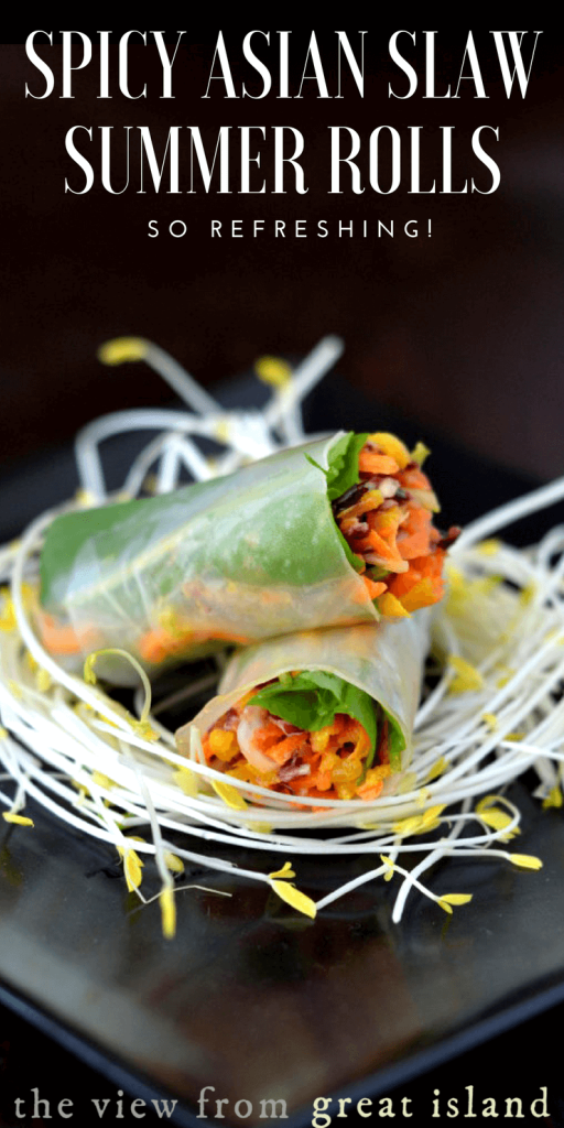 Spicy Asian Slaw Summer Rolls ~ fresh and crunchy spring rolls filled with a rainbow slaw! This refreshing appetizer or light meal is naturally gluten free, low calorie, and so delicious. #Asian #appetizer #glutenfree #springrolls #summerrolls #riceflour #rainbowcarrots #vegan #vegetarian #Thai #Vietnamese