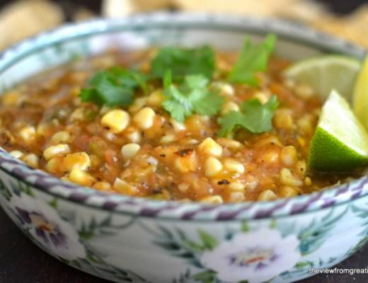 Roasted Tomatillo and Corn Salsa