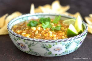 Fire Roasted Tomatillo and Corn Salsa 5