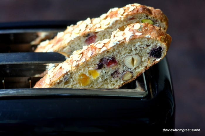 Muesli Toasting Bread is a beautiful and healthy yeast bread chocked full of fruits and nuts ~ it makes the best breakfast toast!