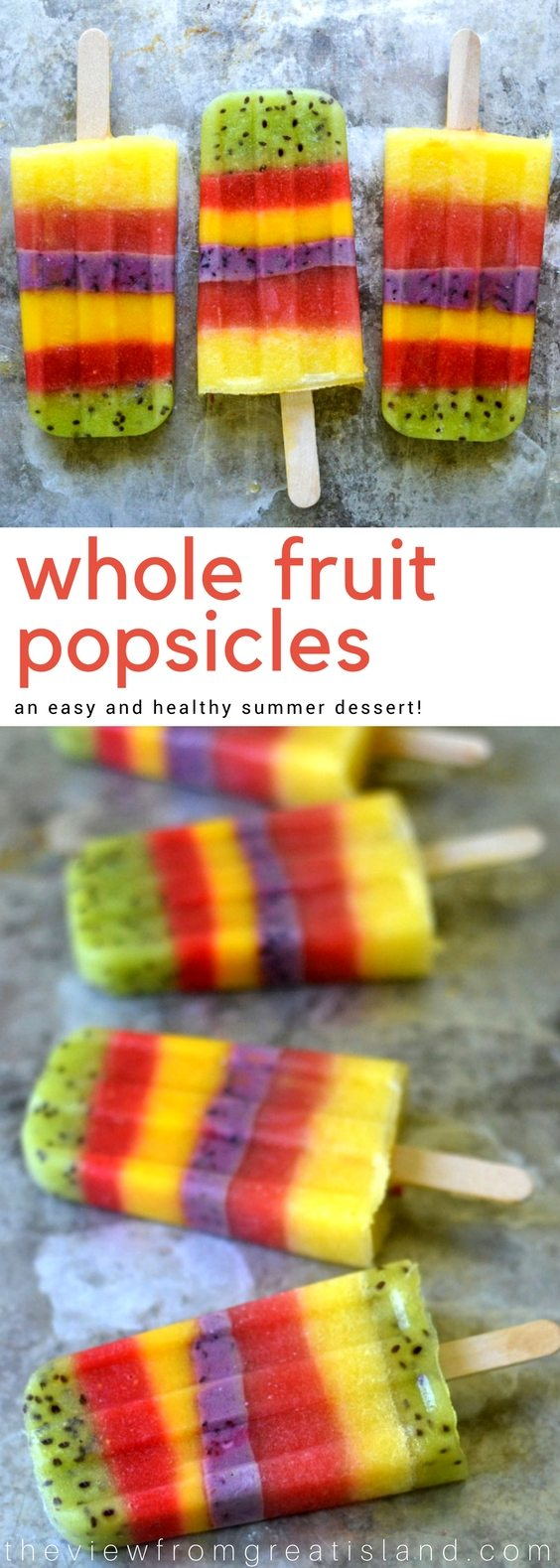 Whole Fruit Popsicles are a healthy, low calorie, low carb snack or dessert for kids of all ages! #popsicles #summer #diypopsicles #fruitpopsicles #healthydessert