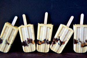 a chorus line of chunky peanut butter cup pudding popsicles