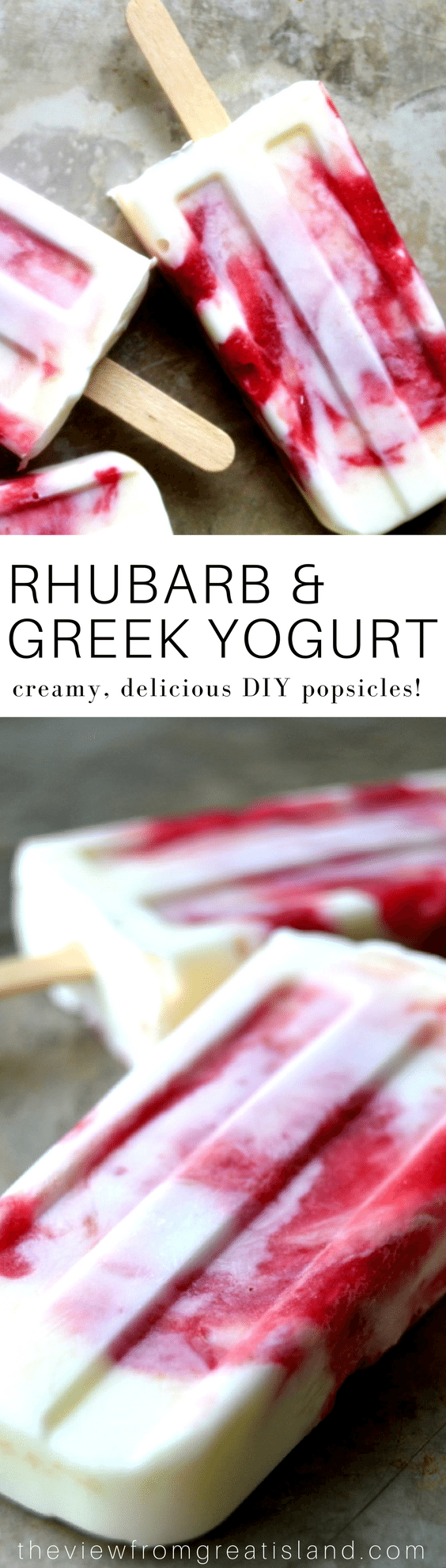 These popsicles have tart rhubarb jam marbled through rich (full fat!) Greek yogurt--they taste like the most perfect bowl of fruit and yogurt you've ever eaten! #diypopsicles #popsicles #rhubarb #greekyogurt #healthydessert #summer #fruit #yogurtpopsicles