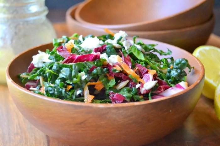 Kale Slaw in a wooden bowl