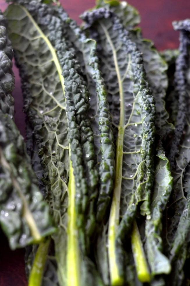 fresh kale leaves for Kale Slaw