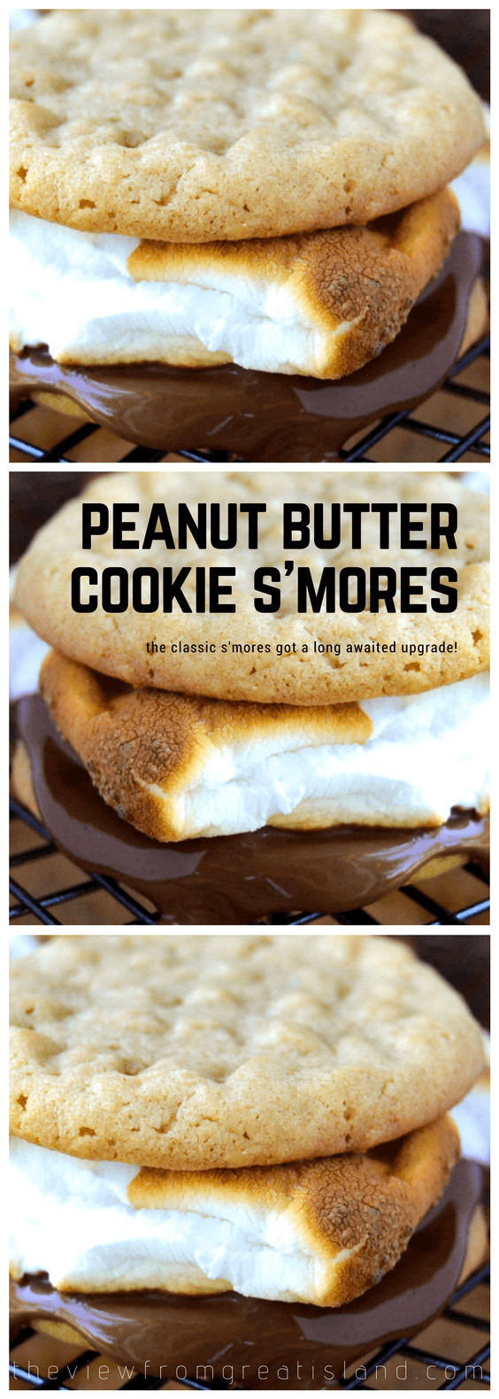 Peanut Butter Cookie S'mores ~ a better version of the classic s'more made with soft and chewy peanut butter cookies. This beloved summer dessert just got a much needed upgrade! #cookies #dessert #peanutbutter #summer #campfire #campfood #cookies #marshmallows #chocolate #peanutbuttercookie #bestsmore