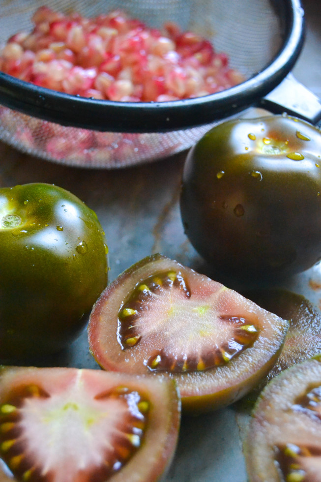 brown tomatoes and pomegranates