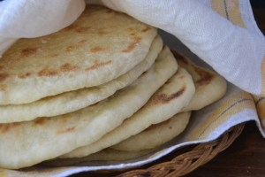 freshly cooked homemade pita bread