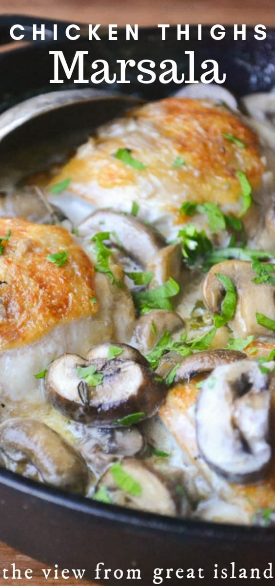 Chicken Thighs Marsala for Two ~ this classic chicken recipe gives you great restaurant style flavor in a jiffy. #recipe #chicken #skillet #30minute #easy #chickenthighs #Italian #authentic