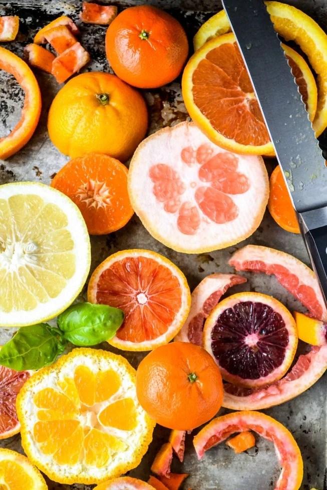 slicing citrus for citrus salad