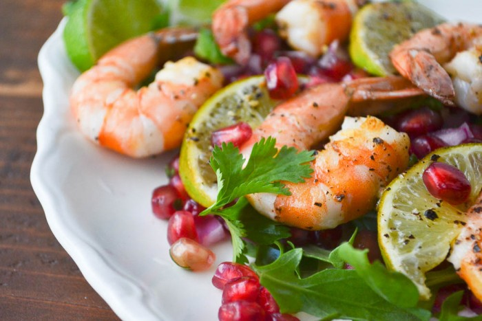 skrimp skewers with spicy pomegranate salsa