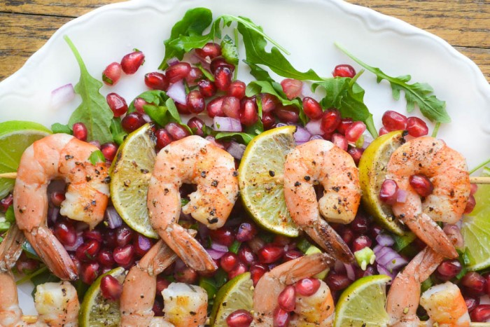 Grilled Shrimp with Pomegranate Salsa (practically calorie free!)