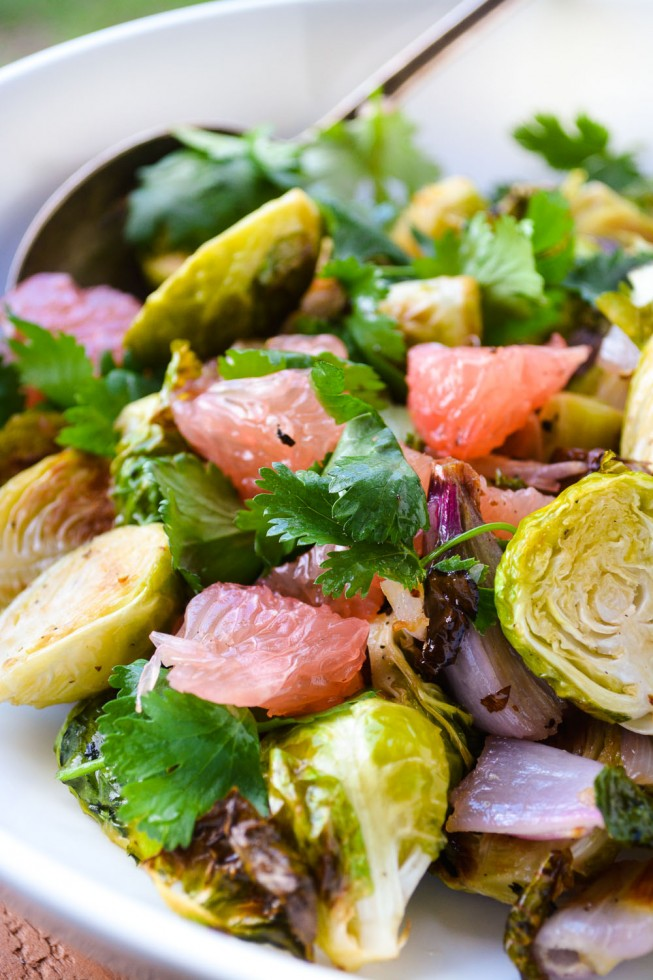 Roasted Brussels Sprout and Pomelo Salad