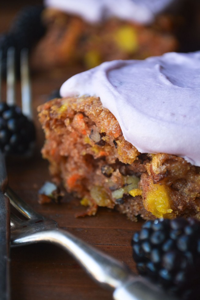Carrot cake with blackberry icing