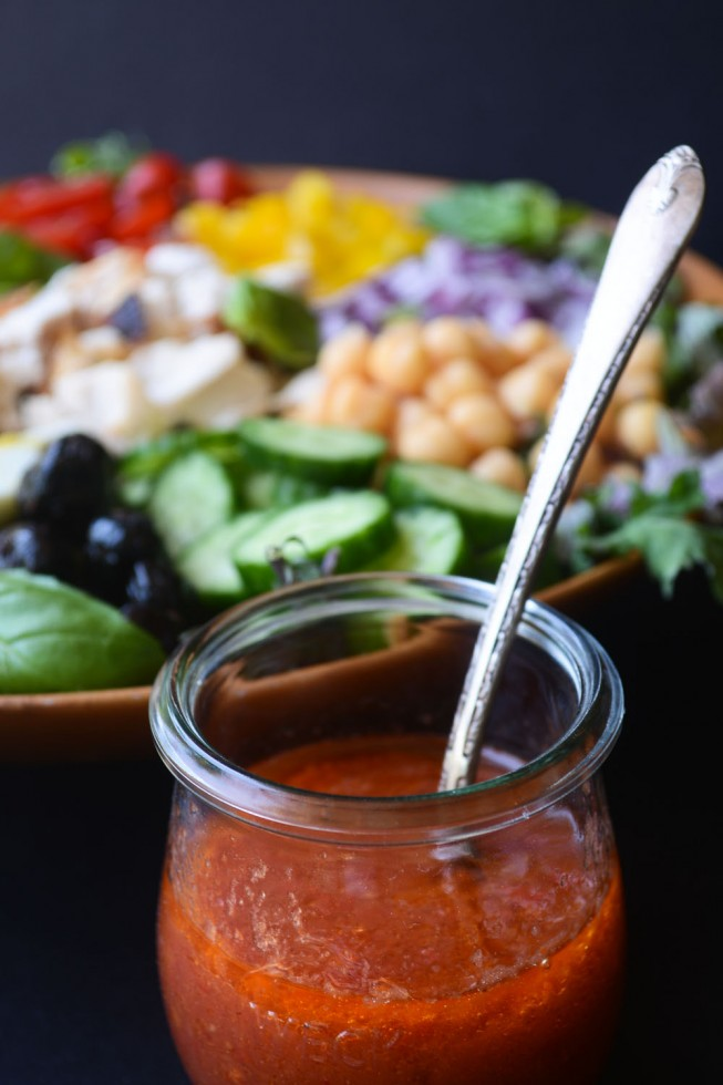 a super tangy and spicy tomato vinaigrette