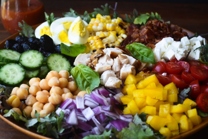 main course chopped salad with tomato vinaigrette