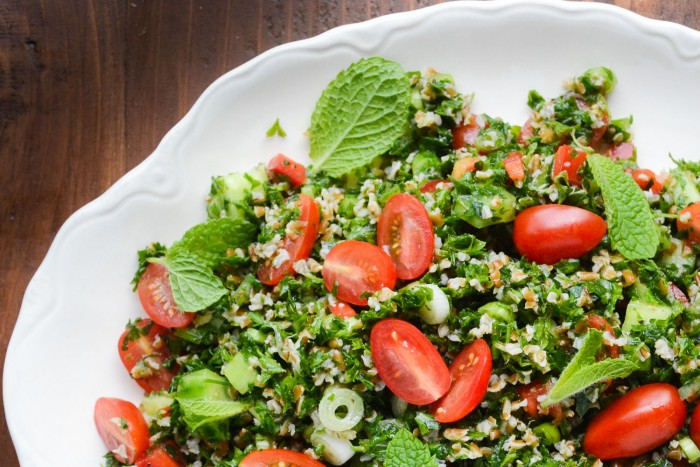 bulgar wheat and parsley make up a wonderful Middle Eastern Tabbouleh Salad