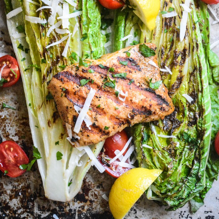 Grilled Salad with Wild Salmon
