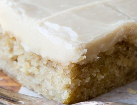 Rich decadent banana blondies with caramel icing