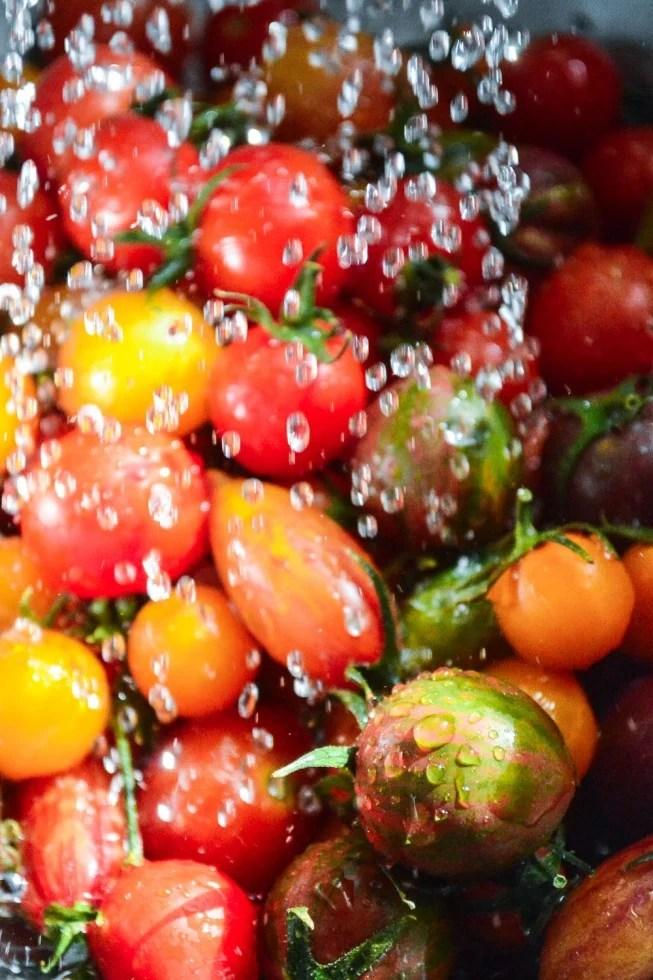 washing heirloom cherry tomatoes