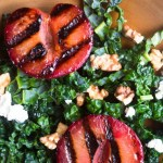 grilled plumcots with kale