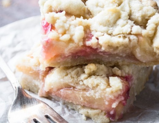 The perfect late summer dessert - juicy white peaches baked in a buttery shortbread crumble crust