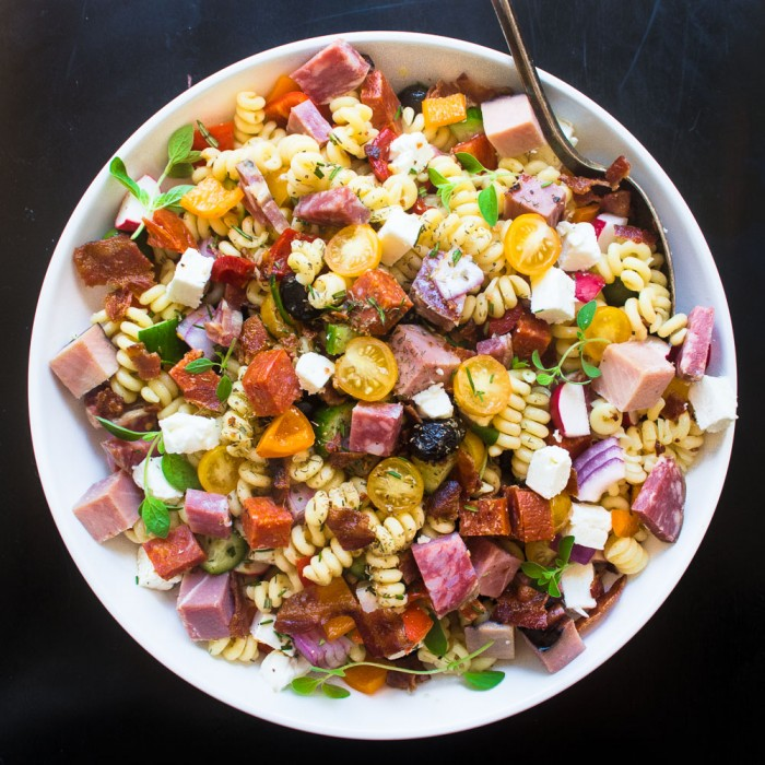 Meat Lovers Pasta Salad is the ultimate pasta salad, loaded up with four different kinds of meat!