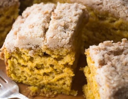 Tall and luxurious golden yellow Pumpkin Crumb Cake