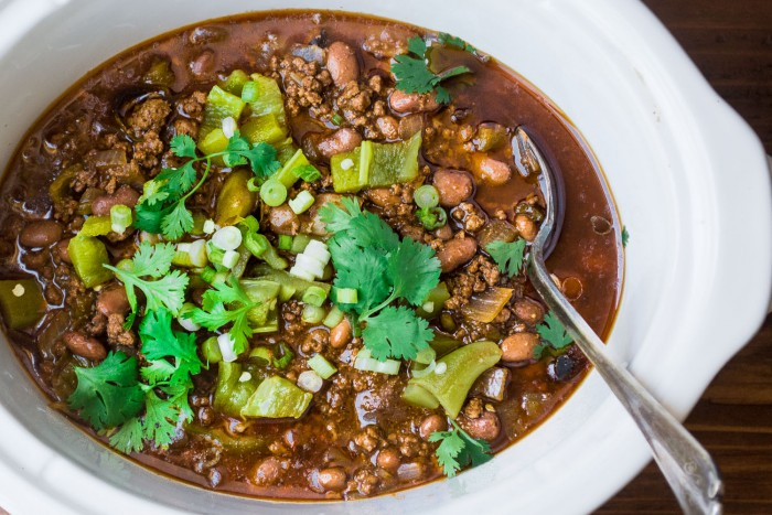 Slow Cooked Hatch Pepper Chile is the perfect fall meal...