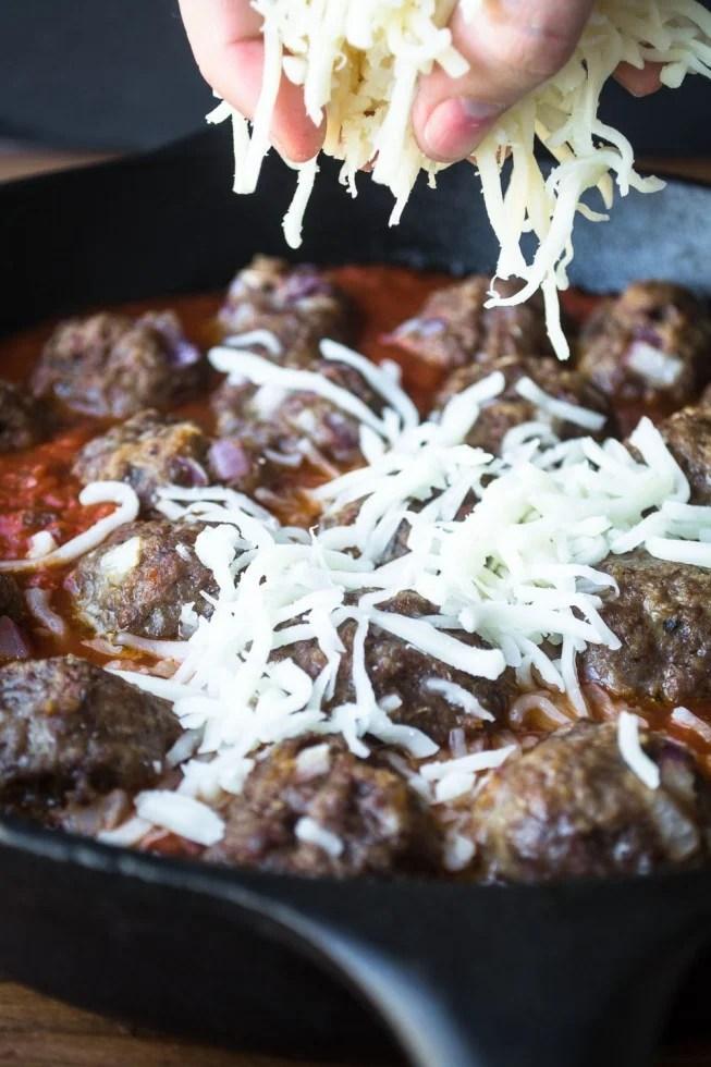 Skillet Meatballs with Mozzarella cheese