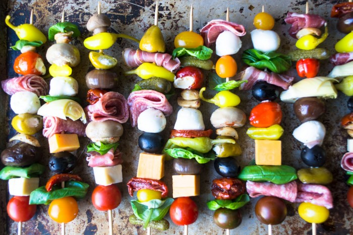 Colorful and healthy Antipasto Skewers