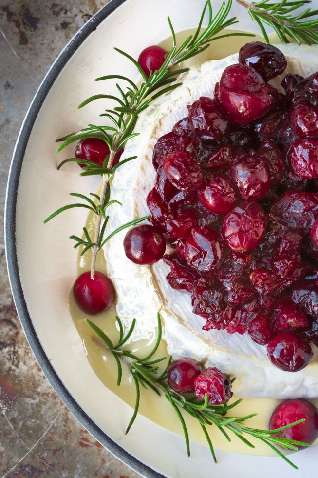 An easy holiday appetizer, baked Brie with roasted cranberries